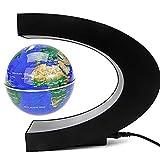 TKSATR Globo Terraqueo Magnetico,Globo Terráqueo Flotante,Globo Terraqueo Luz,Globo Terrestre,Globo Terráqueo Interactivo,C forma de la decoración magnética levitación mundo flotante globo con lámpara de luz LED JU-U02 (Azul)