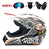GOLDT1 Full-Coverage von Motocross-Helmen Road-Off-Road-Rennradhelm Herren Four Seasons Bequem Atmungsaktiv Cool Shell Vollhelm Helm Anti-Fog