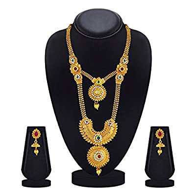 Asmitta Enchanting Red & Green Kundan Gold Plated Opera Style Necklace Set for Women