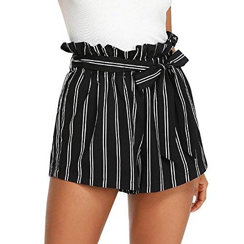 KUDICO Damen Shorts Retro Gestreifte Kurz Hose Beach Sommerhosen mit Elastischem Taillenband High Waist Sporthosen Hotpants Strandshorts(Schwarz, Small)
