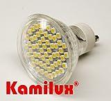 10 x LED 60er SMD Tageslicht mit Schutzscheibe, tageslichtweiss, Leuchtmittel Hochvolt 3W=35Watt, LED-Birne, LED Lampe, 230V, GU10 Strahler in kaltweiss