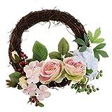 P Prettyia Vinatge Dekokranz Blumenkranz Blütenkranz Hängend auf Tür Stuhl und Wand Zum Hochzeit und Weihnachten