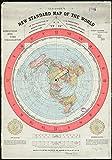 """Mapa de Tierra Plana, Gleason's New Standard Map of The World 1892 (195 g/m²), póster A1 de 33.1"""" x 23.4"""""""