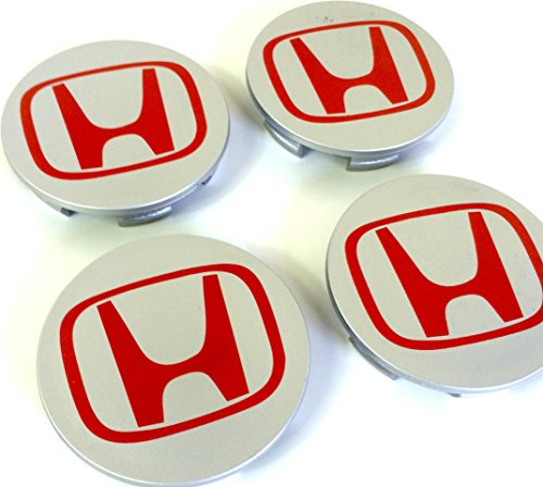 Set von 4 HONDA Alufelgen Center Radkappen Nabendeckel Nabenkappen 68mm Abdeckung SILBER GRAU ROT Logo Badge ACCORD CIVIC TYPE R GT Sport 2.0 i-VTEC Turbo EP3 FN2 und andere Modelle / Set of 4 HONDA Alloy Wheels Centre Hub Caps 68mm Cover SILVER GREY RED (Fn2 Type R)