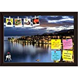 ArtzFolio Buildings in Montreux by Night Printed Bulletin Board Notice Pin Board Cum Dark Brown Framed Painting 17.5 x 12inch