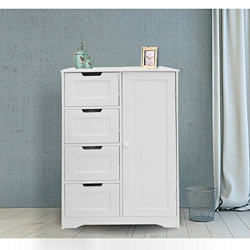 tuff concepts bathroom furniture cabinet free standing include 1 door 4 drawerwhite wood