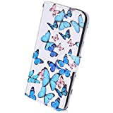 Herbests Cover Case Compatibile con LG V30 Marmo Custodia Coperture PU Leather Chiusura Magnetica Flip Cover Marmo Wallet Case con Supporto di Stand e Carte Slots,Farfalla Blu