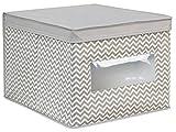 InterDesign Axis Cajas organizadoras con tapa para ropa o zapatos, cajas de almacenaje grandes de polipropileno con ventana, gris topo y crudo