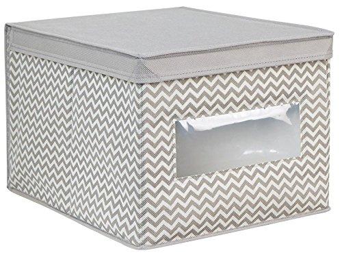 InterDesign Axis Aufbewahrungsbox mit Deckel für Kleidung oder Schuhe, große Schrankbox mit Sichtfenster aus Polypropylen, taupe und natur (Runde-zeitschriften-halter)