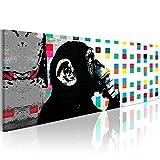 murando Bilder 135x45 cm - Vlies Leinwandbild - 1 Teilig - Kunstdruck - Modern - Wandbilder XXL - Wanddekoration - Design - Wand Bild - Banksy Street Art Affe g-B-0031-b-a