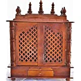 Jodhpur Handicrafts Wooden Home Temple with Led Bulb Inside and Pooja Articles God Frame, Thali