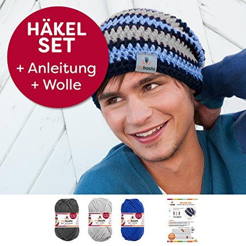 Kreative Beanie-Mütze Iga häkeln, mit Myboshi Wolle No.1 3x50g, ganzes Häkelset mit Anleitung + selfmade Label, in der passenden Farbkombination anthrazit, silber, saphir