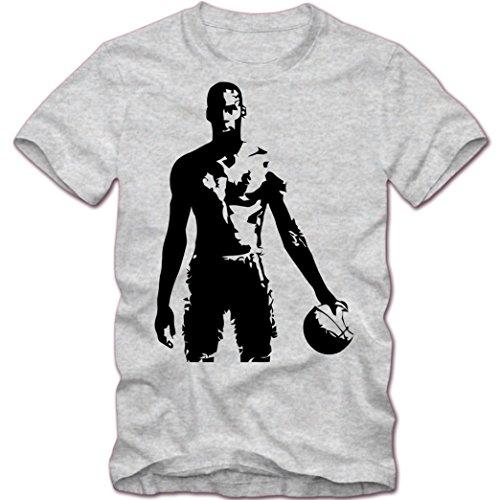 Basketball #5 T-Shirt |NBA | BBL |Streetball | Sportshirt | Herrenshirt © Shirt Happenz Graumeliert (Grey Melange L190)