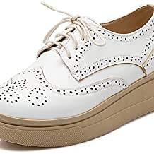 ZQ hug Zapatos de mujer-Plataforma-Punta Redonda / Comfort-Oxfords-Vestido / Casual-Semicuero-Marrón / Blanco / Beige / Bermellón , brown-us8 / eu39 / uk6 / cn39 , brown-us8 / eu39 / uk6 / cn39