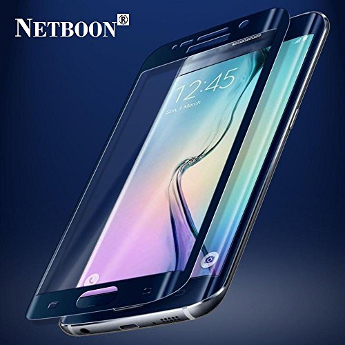 NETBOON® Branded Samsung Galaxy S6 edge Tempered Glass Full Coverage Screen Protector – Anti Explosion, Original Crystal Clear Screen Guard, Anti-Scratch Screen Premium Quality Best Protector Glass, Shatterproof, Bubble-free, 2.5D Curved Edge – 9H Hardness Protect Mobile Screen from Dust, Bumps, Scratches, Dirt or any unwanted wear and tear – Navy Blue