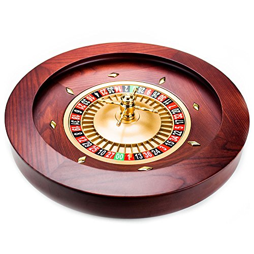 Brybelly Casino Grade Deluxe Roulette-Rad aus Holz, Red/Brown Mahogany, 18""