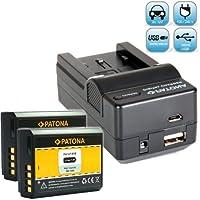 Bundlestar Chargeur 4en 1pour batterie Canon LP-E10et 2x PATONA Batterie pour Canon LP-E10Canon EOS 1100D 1200D 1300D –-avec adaptateur allume-cigare, fiche plate de réseau, USB et –-Nouveauté avec connexion micro USB.