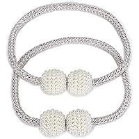 BTSKY 1 Par de Cuerdas para Cortinas Magnéticas Hebillas de Cortinas con Perlas Material Tejido Diseno Clásico Europea Color Beige/Gris (Beige)