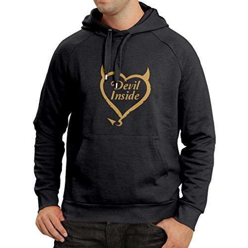 Kapuzenpullover Devil Inside Devil Kostüme lustige Kleidung, Geschenke für Gamer, Cooler Slogan (Small Schwarz Gold)