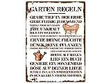 WANDSCHILD METALLSCHILD Blechschild GARTEN REGELN Dekoration Garten Hobby Gärtner