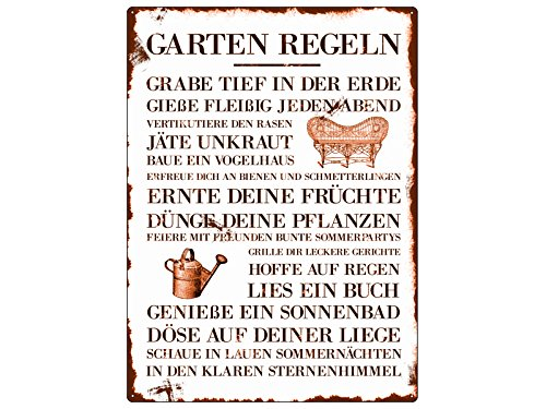 WANDSCHILD METALLSCHILD Blechschild GARTEN REGELN Dekoration Garten Hobby Gärtner -