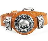 LCDY Fashion Mens Cowhide Armband Schädel Legierung Accessoires Bühne Rock Style,Yellow