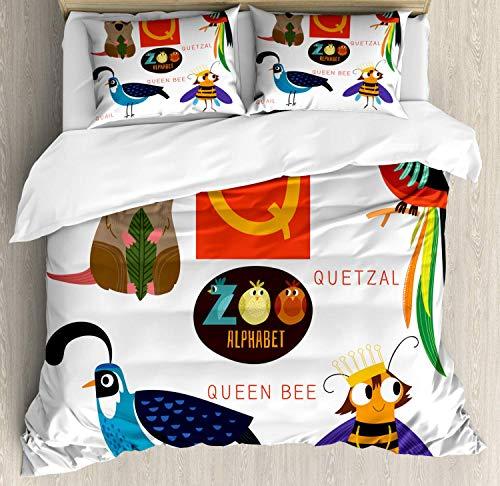 Alphabet Bettwäscheset, Studie Q Schild mit Nature Life Bienenkönigin Quetzal Quokka Wachtel Haustier Illustration, dekorative 3-teiliges Bettwäscheset mit 2 Kissenbezügen, Multicolor QUEEN / FULL