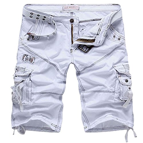 ZhuiKun Bermudas Shorts Herren Cargo Kurze Hose Knielang Weiß 34
