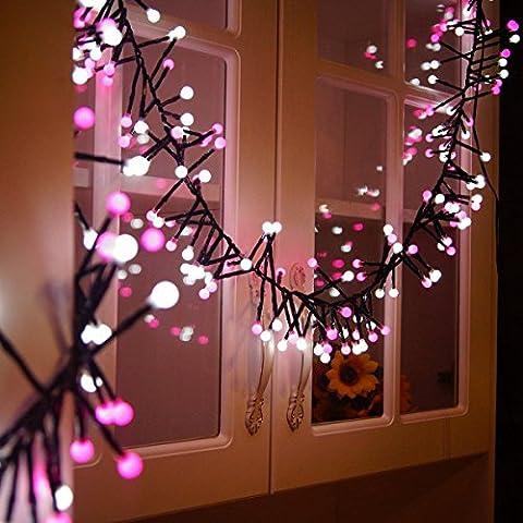 Han Lucky Star 3m 400er LED Lichterkette Kugeln mit 8 Modi String Licht Innen und Außen Deko für Weihnachten Party Hochzeit und Garten (Weiß + (Englisch Wünsche Für Weihnachten)