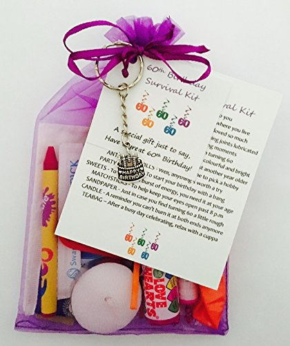 60th Birthday Survival Gift Kit Fun Happy Present For Him Her Choose From Lilac Or Blue