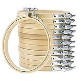 12Bambus Kreuzstich Hoops rund Stickrahmen verstellbar Bambus Kreis Kreuzstich Hoop Holz Stickerei Kreis Sets Arts Crafts Handlich Nähen Ausstattung Hoop Ring, 13cm/ 5inch