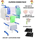 Flipzon Combo Pack - 1 Pcs Jumbo Cloth Drying Stand, 2 Pcs Fridge Organisers, 1 Pcs Bathroom Tumbler, 20 Pcs Clips