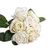 Homapp 9 têtes de Fleurs artificielles en Soie pour décoration d'hôtel, Bureau, Maison 27cm C