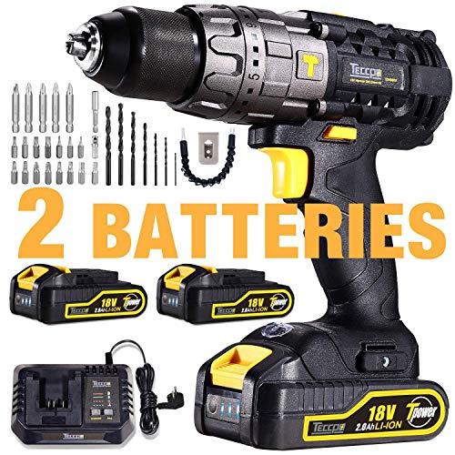 Taladro Bateria, Taladro Inalámbrico TECCPO 18V+2 Baterías 2.0Ah, 30min Cargador Rápido, 29 Accesorios, 13mm Mandril Automática, 21+3 Ajustes de Par - TDHD01P