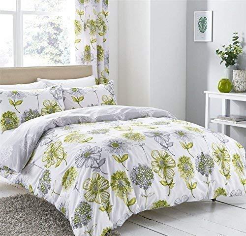 Aquarell Stil Blume Blumen Grün Grau Baumwollgemisch einzeln (Uni Dunkelgrau passendes Leintuch - 91 x 191cm + 25) Uni Dunkelgrau Hausfrau Kopfkissenbezüge 5 Teile Bettwäsche Set -