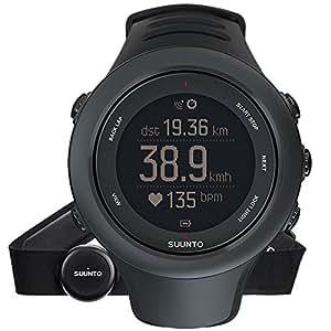 Suunto AMBIT3 SPORT HR SS020678000 Orologio GPS Multisport, Unisex, Fino a 15 Ore di Durata della Batteria, Monitoraggio Frequenza Cardiaca + Fascia Cardio, Resistente all'Acqua Fino a 50 m, Taglia M, Nero