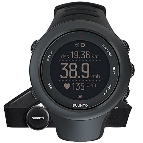 Suunto, AMBIT3 SPORT HR, Unisex Multisports GPS Watch, 15 Hrs. Battery Life, Heart Rate Monitor +  Chest Strap (Size: M), Waterproof up to 50 m, Black, SS020678000