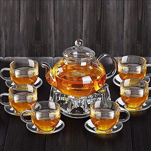 Théière Épaississement Verre Kung Fu thé Ensemble Filtre à la Maison Verre résistant à la Chaleur thé Fleur 600 ML 6 Tasses +6 sous-Verres + Base de GAODUZI