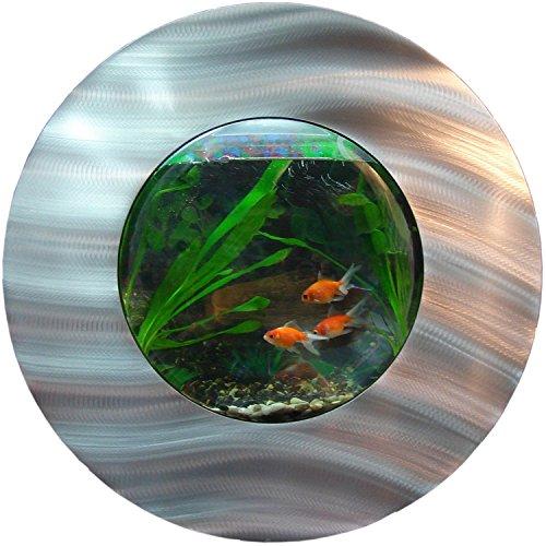 Wandaquarium mit Auswölbung Ø 560xB187mm, Komplett XXL Zubehör Set Nano Aquarium Pumpe IPX8 Norm Leuchte uvm. -
