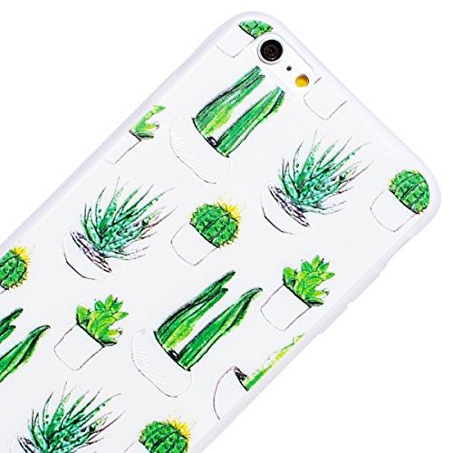 WE LOVE CASE iPhone 6 / 6s Hülle 3D Scheuern Entlastung Wolf iPhone 6 / 6s Hülle Silikon Weich Weiß Handyhülle Tasche für Mädchen Elegant Backcover , Soft TPU Flexibel Case Handycover Stoßfest Bumper  cactus