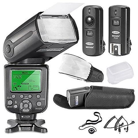Neewer 5500K 2.4G Pro Flash TT660 II Sans Fil *Deluxe Kit* Pour Nikon D7100, D7000, D5300, D5200, D5100, D5000, D3200, D3100, D800, D4, D3S, D3X, F90X, D4S avec TT660 II(TR-960 III) Flash, Déclencheur Sans Fil, 2 Câbles (N1-Cordon + N3 Cordon), Diffuseur Souple & Diffuseur Dur, Porte Bouchon