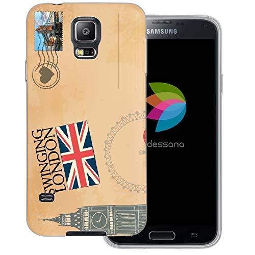 dessana Briefmarken Transparente Schutzhülle Handy Case Cover Tasche für Samsung Galaxy S5/Neo Postkarte London (Case S5 Galaxy London Samsung)