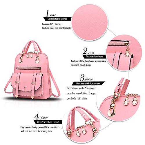 Tisdain Nuovo modello Moda Spalla spalle doppio scopo Borsa da donna Stile Casual selvaggio Zaino per studenti Borsa da viaggio rosa