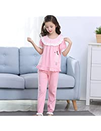 Pijama de niña de algodón de Verano Traje de Pijama de Manga Corta para niñas Ropa
