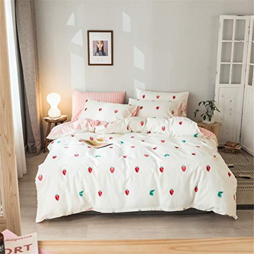 Erdbeer-Bettwäsche-Set Full Green Leaf Bettbezug Queen Tagesdecke rosa und weiß Streifen Blatt Kissenbezug Obst Bettbezug Erdbeer-Bett-Set Full Teenage Girl Quilt Covers NO Tröster (Size : King)