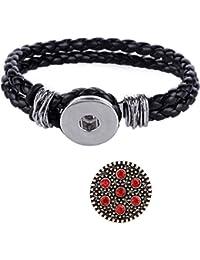 Morella señorías Click-Button trenzada pulsera negro juego y botón estrellas en el cielo rojo