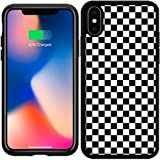 Silicone Case for Iphone X - Black White Checkered Pattern by Djuranne