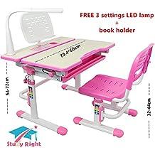 Conjunto de mesa y sichas de estudio para niños, área de trabajo escolar para niños, altura ajustable escritorio de estudio, inclinable, cajón de escritorio, soporte para vasos, 3configuraciones de lámpara LED, para edades comprendidas entre 3y 16 años. Modelo: C402.