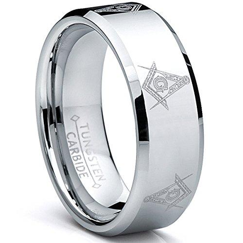 Ultimate Metals Co. 8MM Herren Wolframcarbid Ring Mit Freimaurer Design,Bequemlichkeit Passen,Größe 64.5