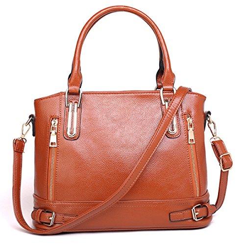 Schulter Diagonale Verstellbare Litschi Muster Damen Handtasche,Brown Brown